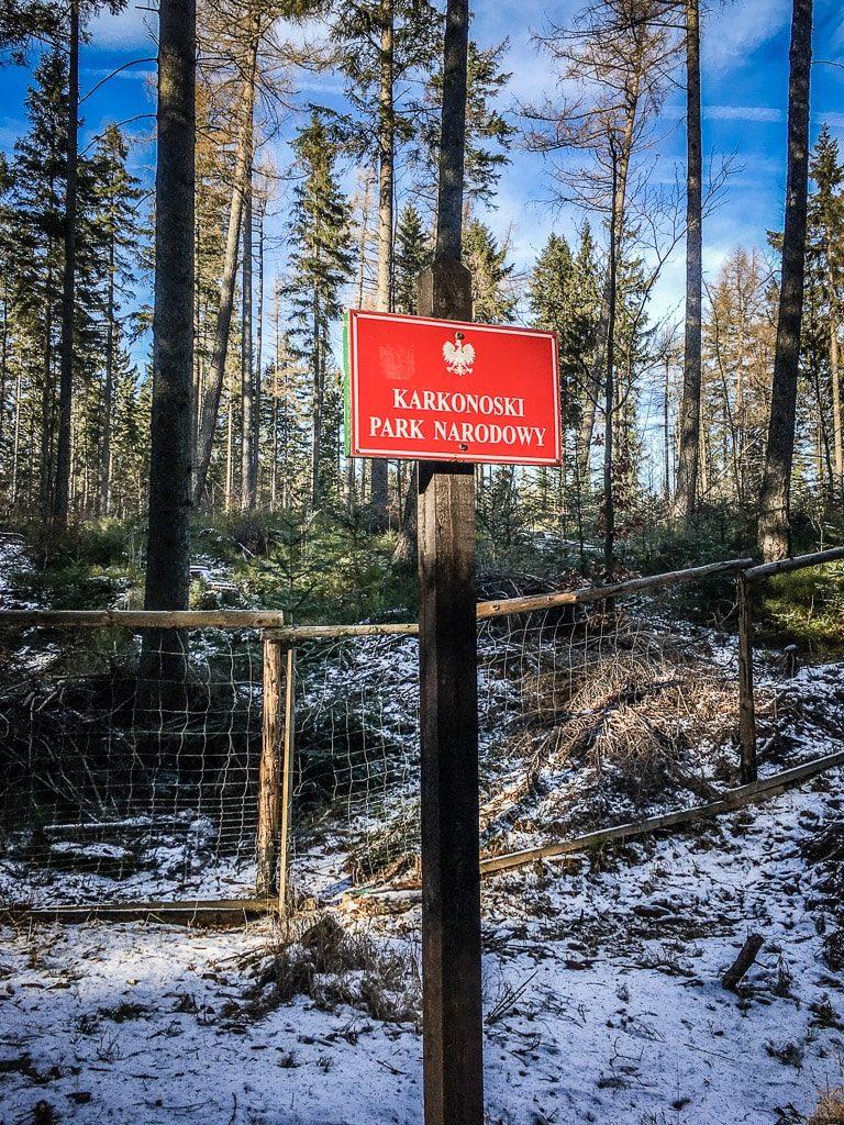 Karkonoski Park Narodowy Nationalpark Riesengebirge Schild
