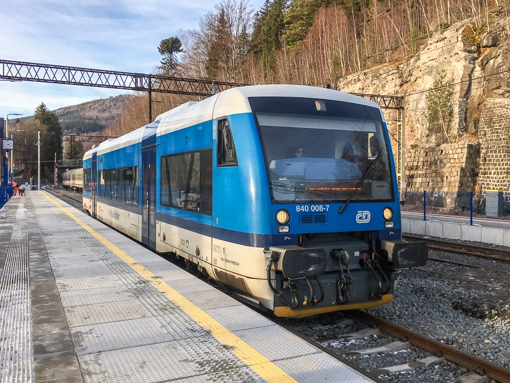 Triebwagen Ceske Drahy Bahnhof Szklarska Poręba Górna