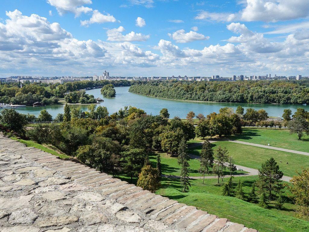 Belgrad Zusammenfluss Donau Save