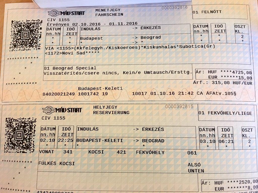 Fahrkarte und Reservierung Nachtzug Budapest Belgrad