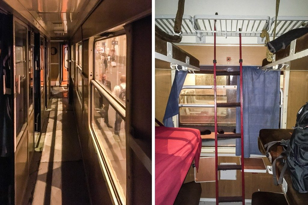 Gang und Abteil im Liegewagen vom Nachtzug Budapest–Belgrad