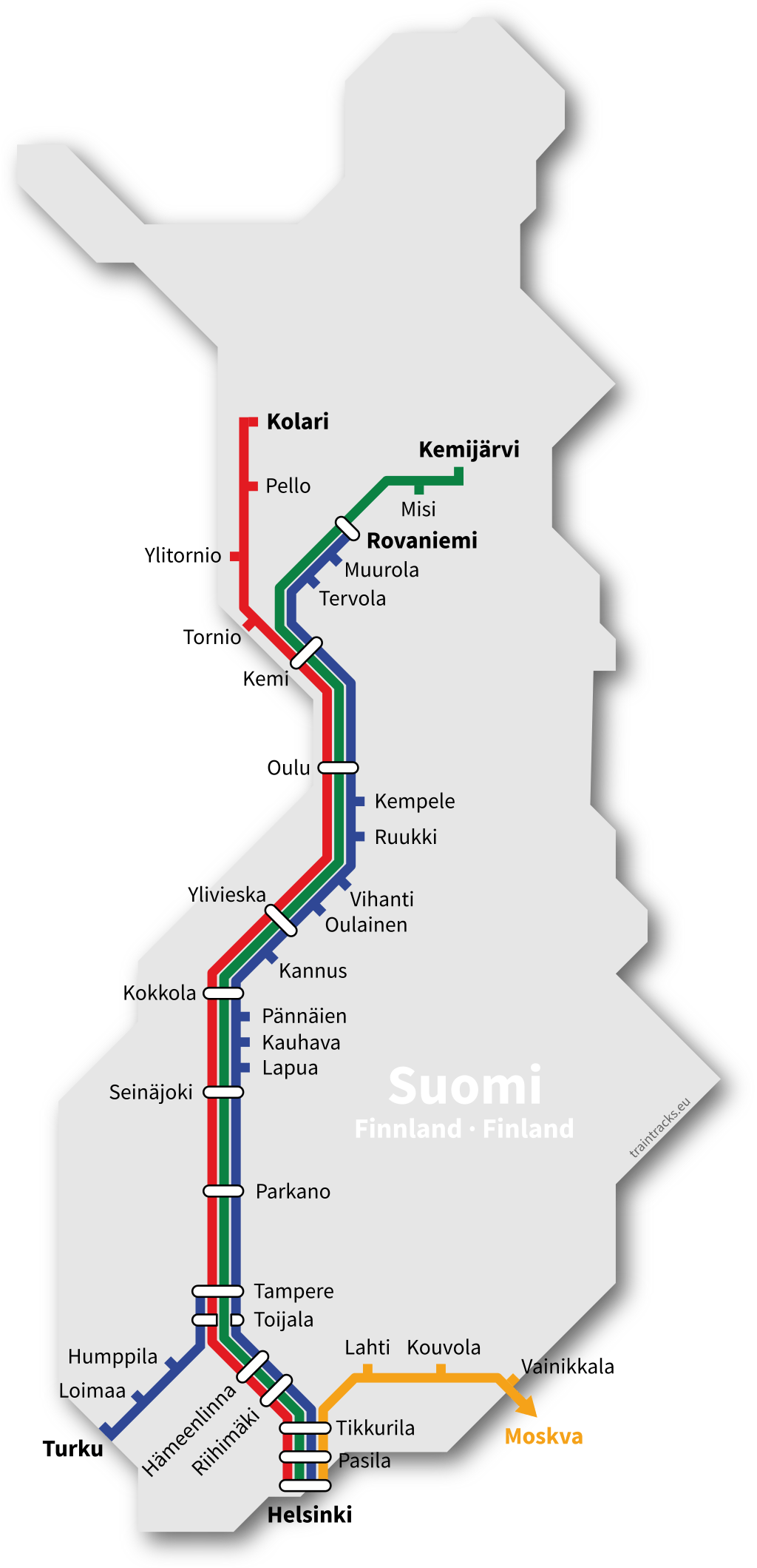 Nachtzug Netzplan Finnland