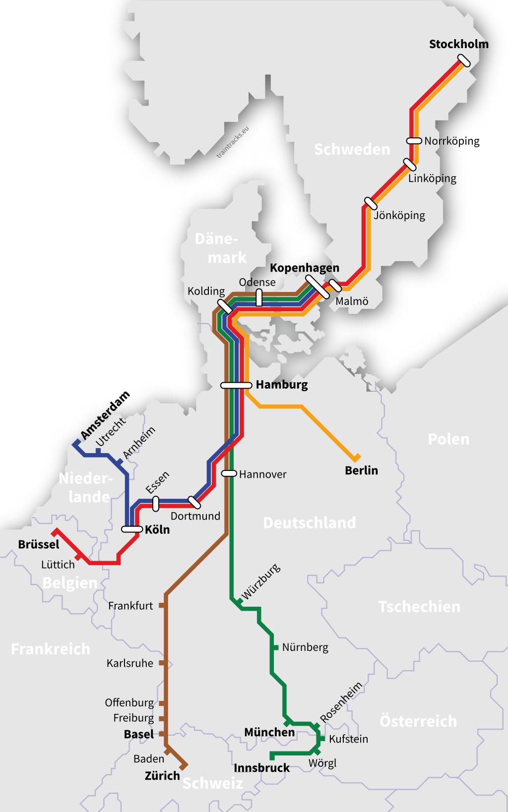 Karte Nachtzug Netz Dänemark Schweden Kopenhagen Stockholm Hamburg Berlin Amsterdam Köln Brüssel München Basel Zürich Innsbruck