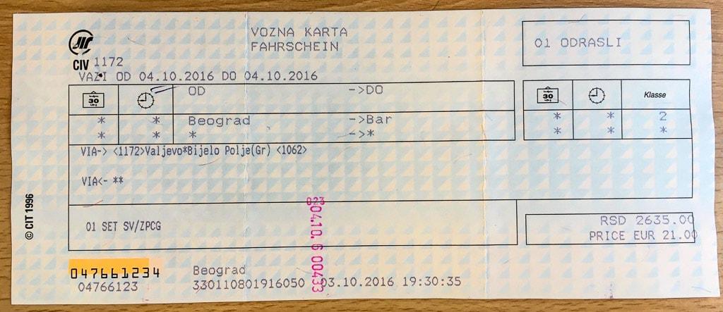 Fahrkarte Nachtzug Belgrad Bar