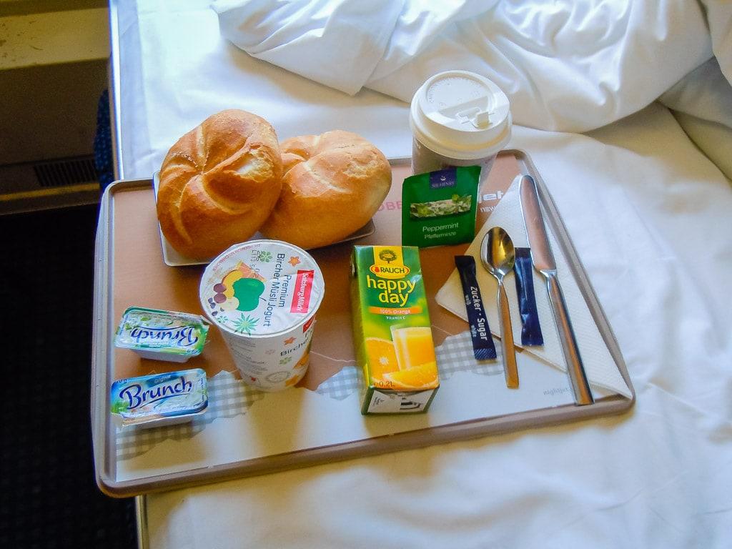 Frühstück Schlafwagen ÖBB Nightjet