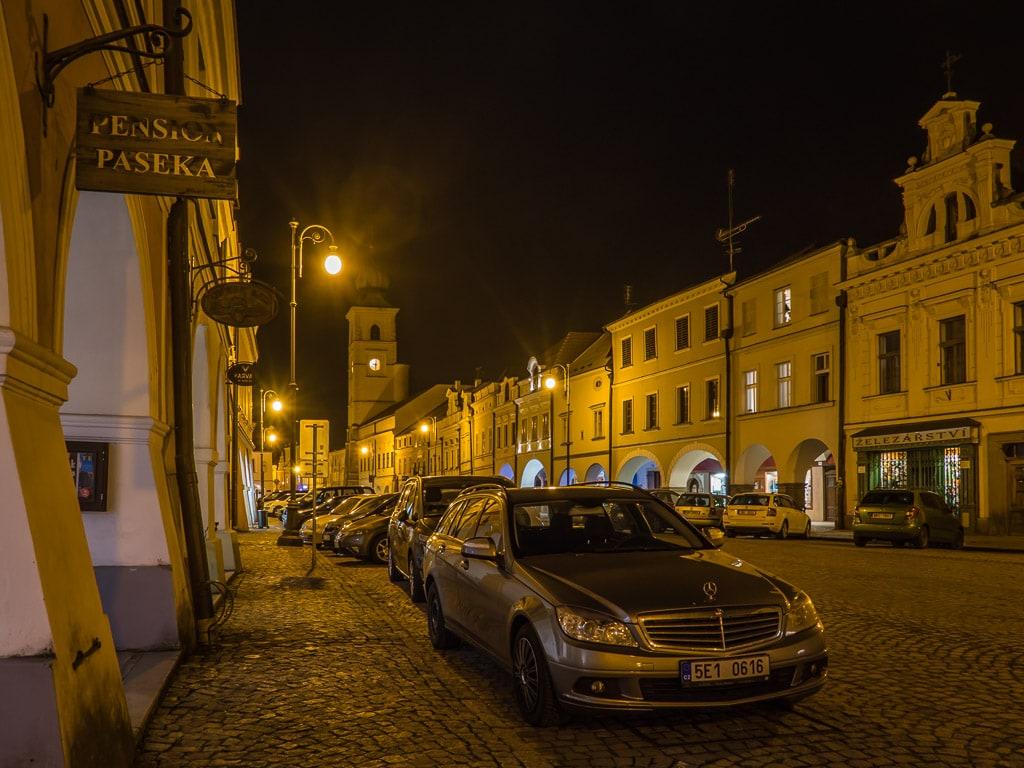 Litomyšl Marktplatz Nacht