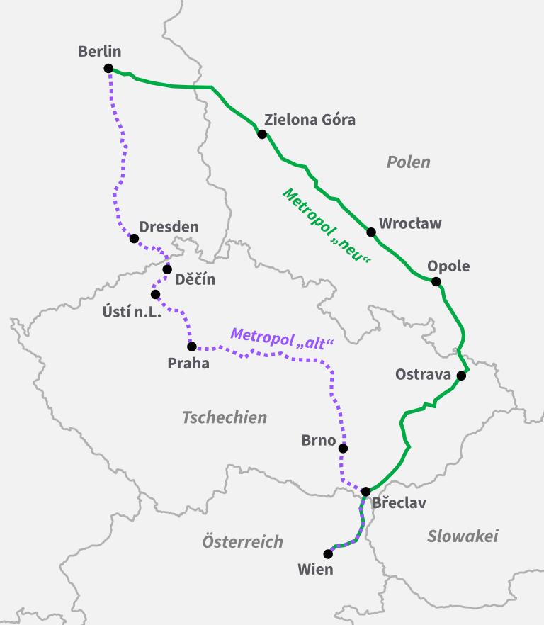 Strecke Nightjet Metropol Berlin Breslau Wien