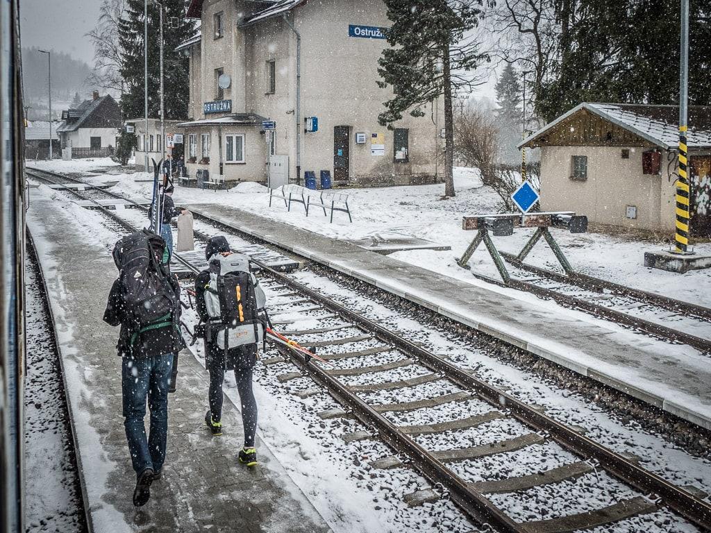 Bahnhof Ostružná Schlesischer Semmering Winter
