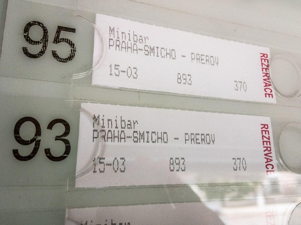 Schnellzug Tschechien Reservierung Minibar