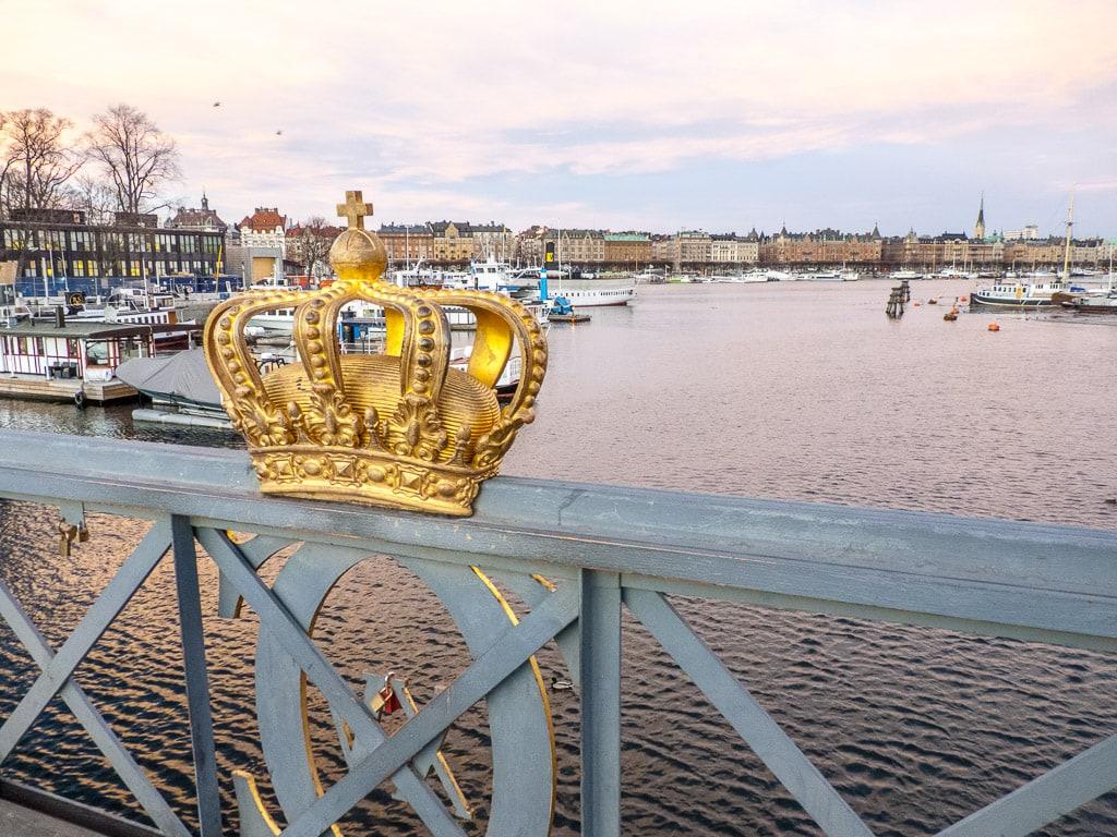Stockholm Schweden Wasser Brücke Krone