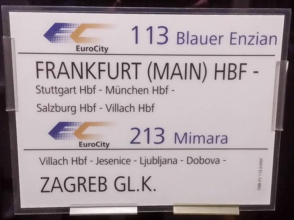 Zuglaufschild EC 113 Blauer Enzian EC 213 Mimara