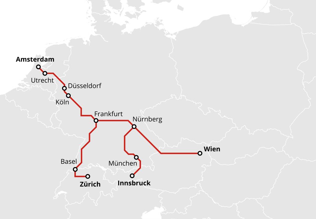 Nachtzug von Wien, Innsbruck und Zürich nach Amsterdam