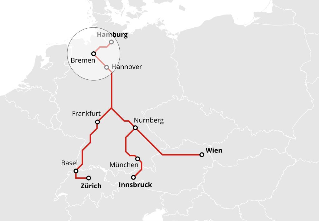 Nachtzug von Hamburg nach Wien, Innsbruck und Zürich über Bremen