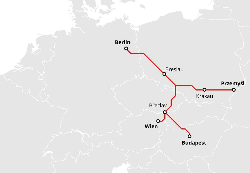 Nachtzug von Berlin nach Wien, Budapest und Przemysl