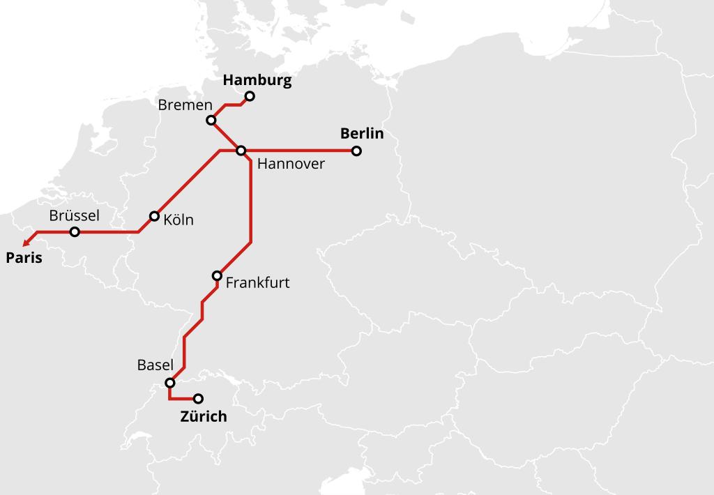 Nachtzug von Hamburg und Berlin nach Paris