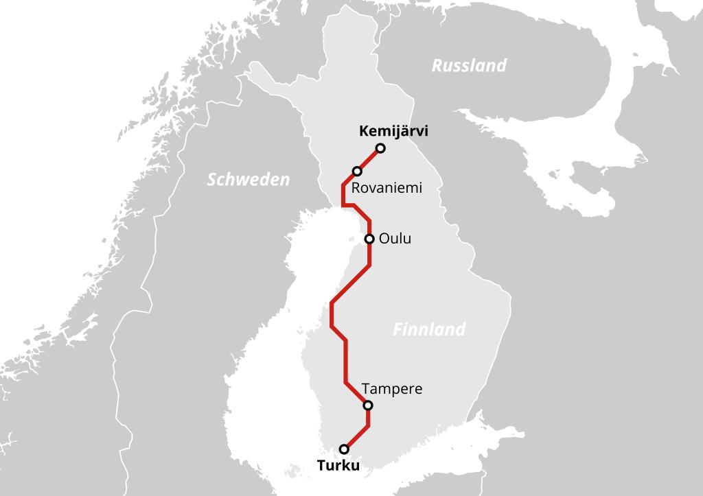 Karte Nachtzug von Turku nach Kemijärvi