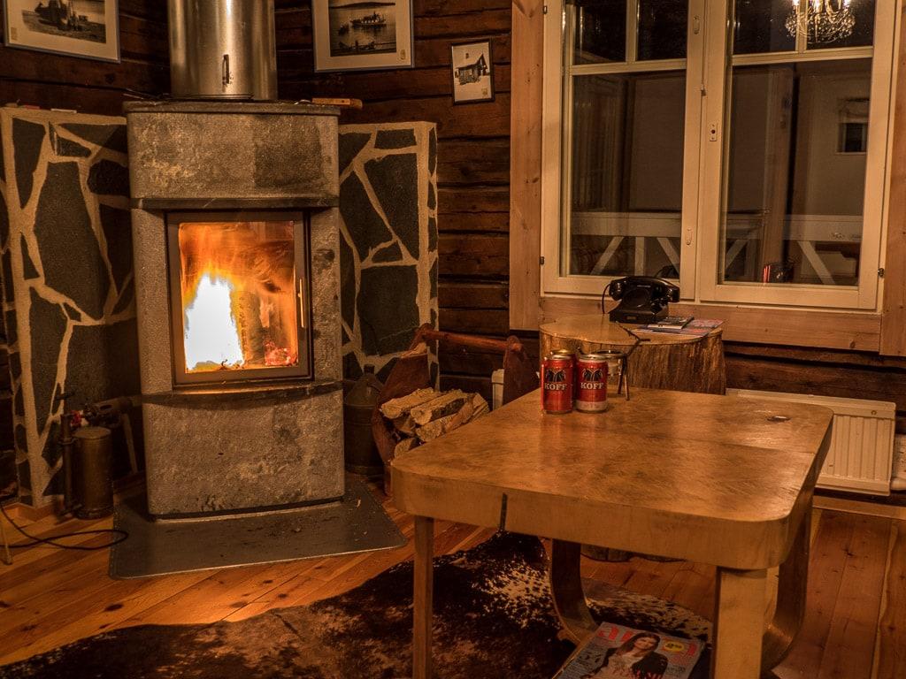 Sauna Hütte Kamin Hotel Uitonniemi Kemijärvi Finnland