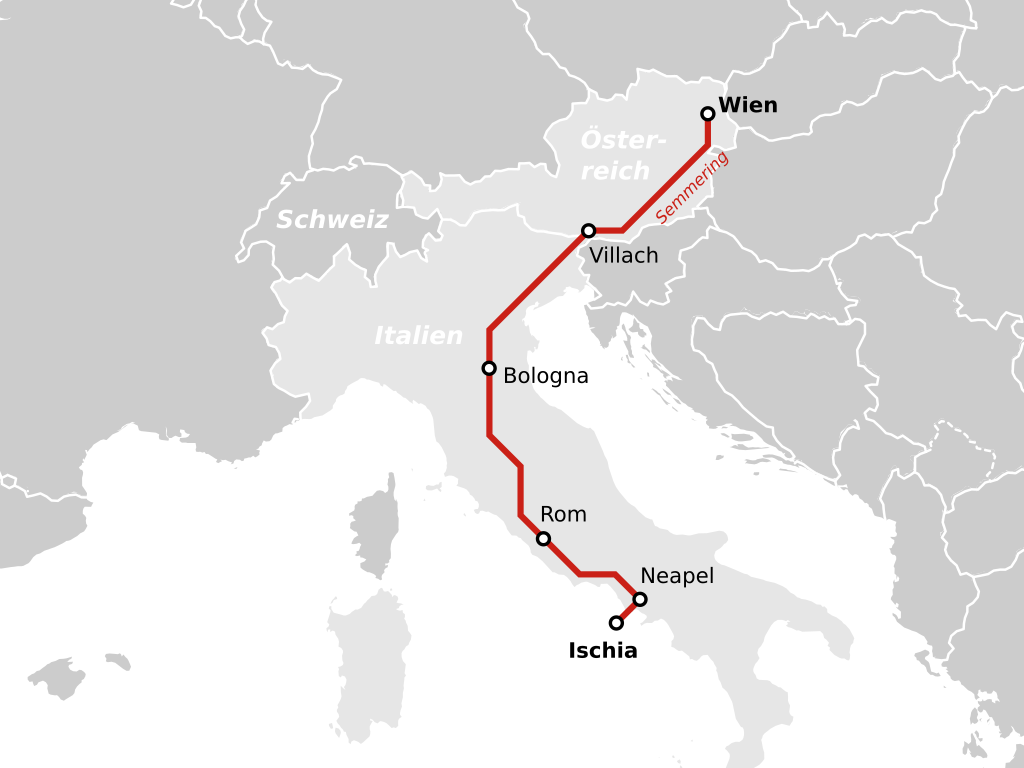 Nachtzug Wien Semmering Rom Neapel Ischia