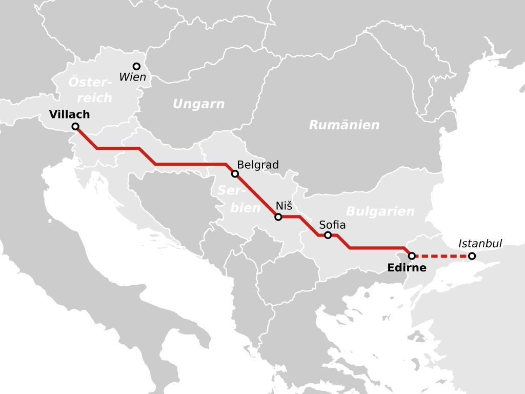 Optima Express Autoreisezug Strecke Villach Edirne
