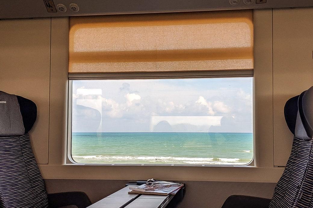 Aussicht Zugfenster Frecciabianca Adria Küste Meer