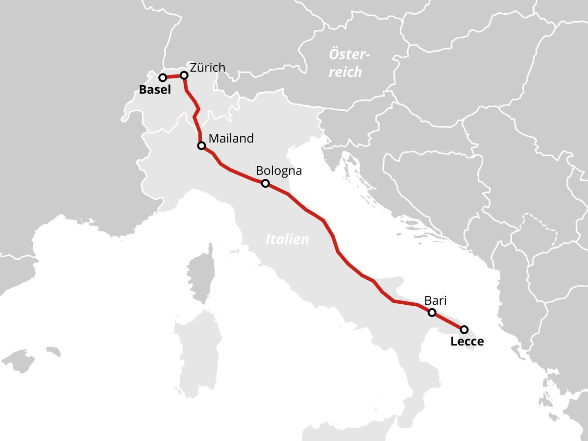 Mit dem Zug von Basel und Zürich nach Lecce in Apulien Salento