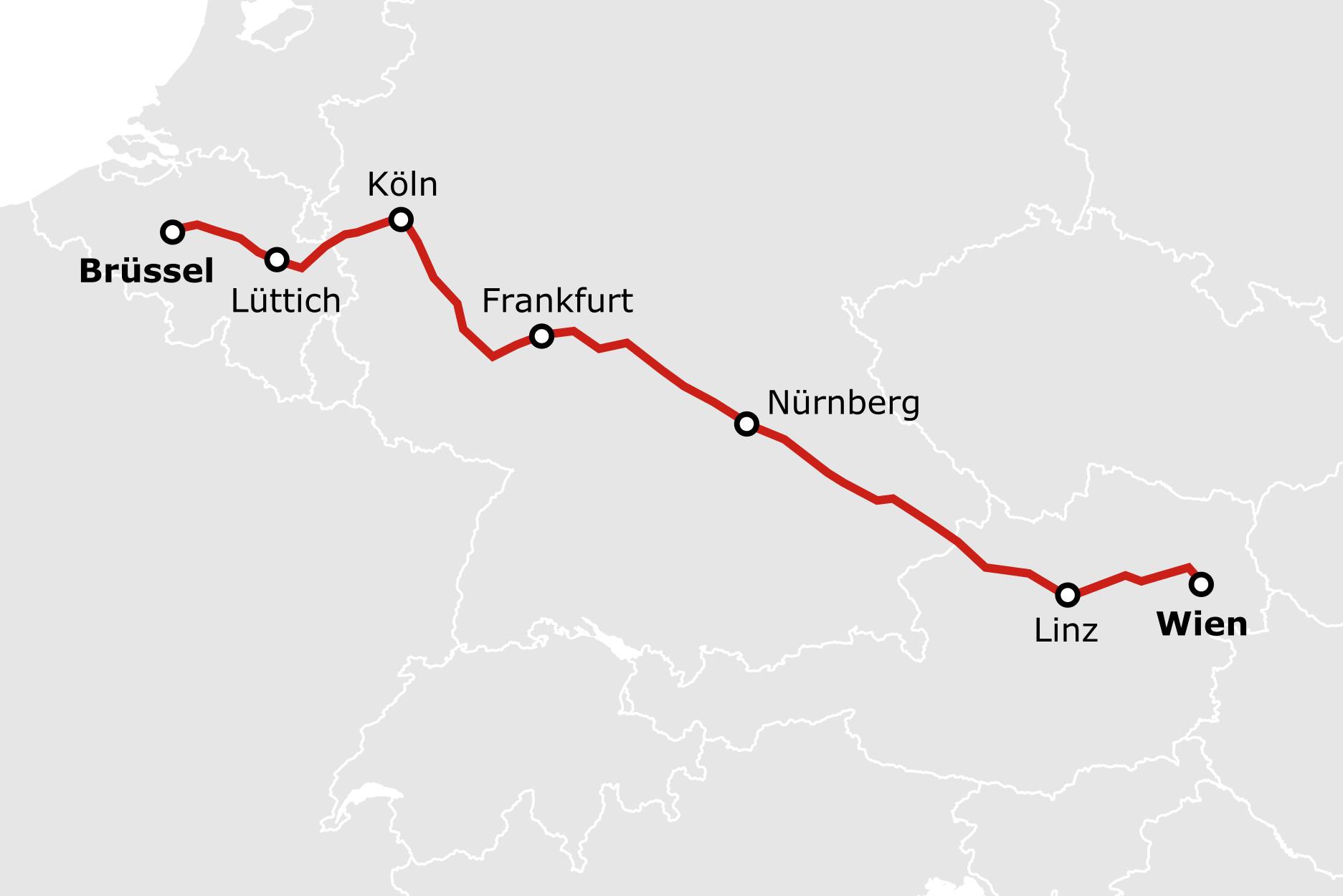 Karte Nachtzug Brüssel Wien Innsbruck ÖBB Nightjet